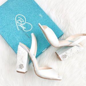 Blue Betsey Johnson | ivory satin embellished heel
